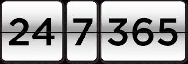 24/7 365 availability icon