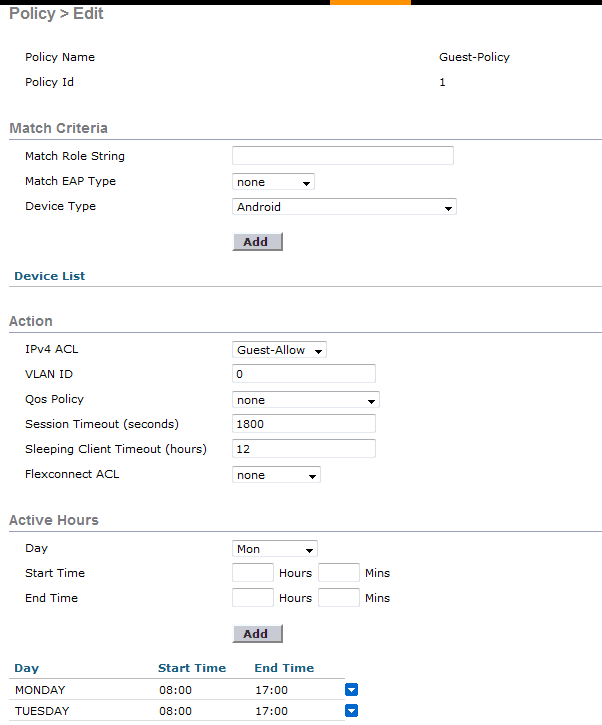 Time of Day Access for Guest SSID on a Cisco WLC - PEI