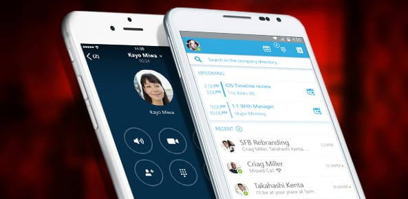 Skype for Business mobile app on phone