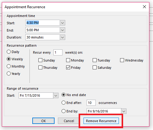 Appointment Recurrence Removal Screenshot