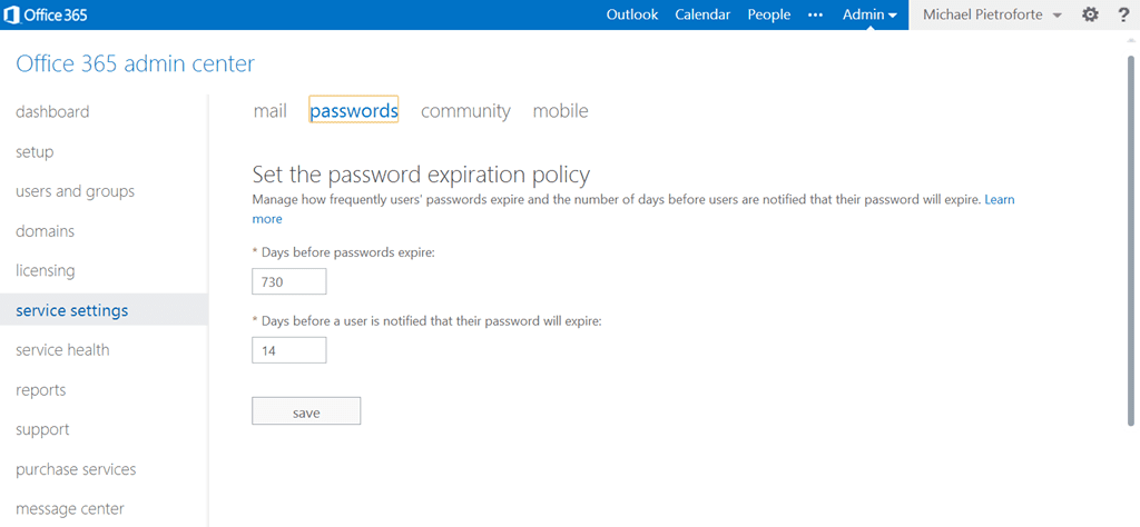 Office 365 Password Expiration Policy screenshot