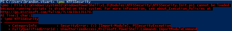 PowerShell not signed error message