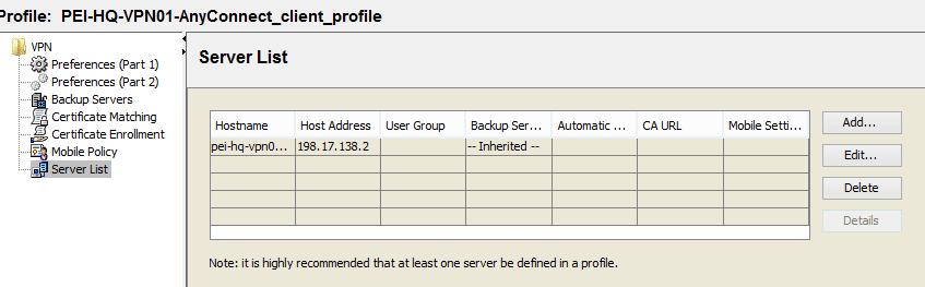 Cisco AnyConnect Profile Servers List Screenshot