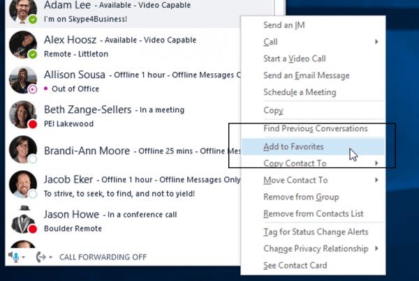 Skype for Business Favorites Group Screenshot