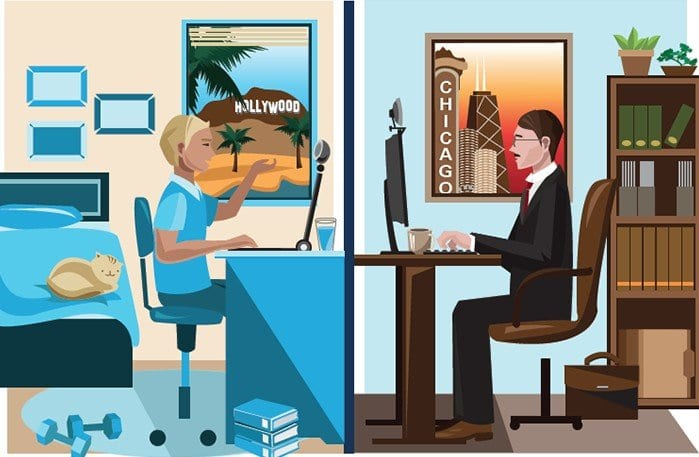 Cartoon of people telecommuting