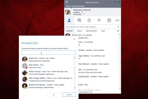 Call forwarding screenshot of skype for business