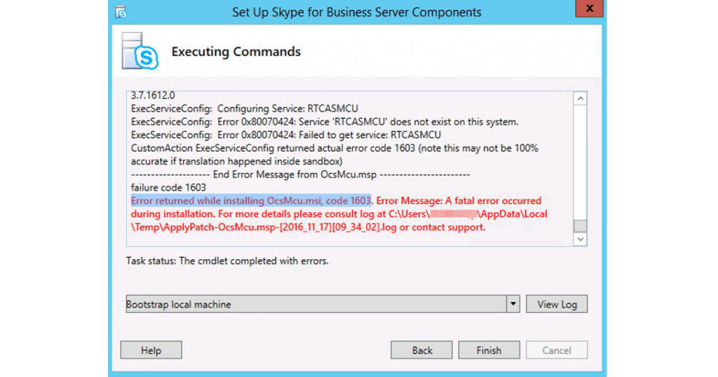 Skype for Business Server Update Error