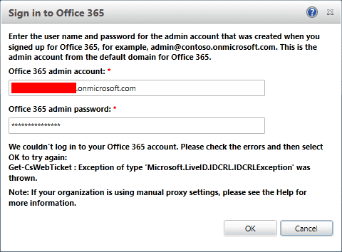 hybrid environment sing in error screenshot