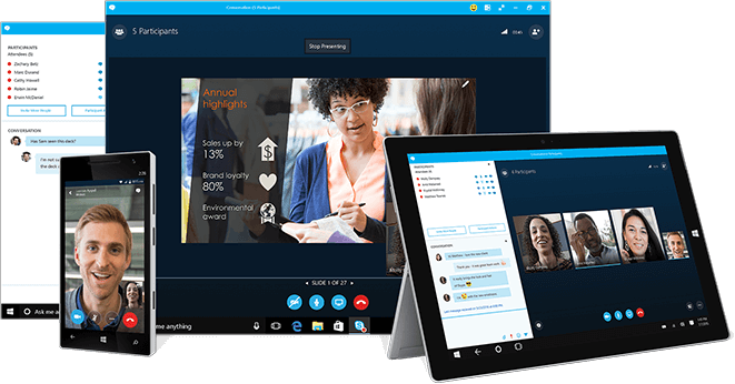 skype for business deployment shown on a range of devices