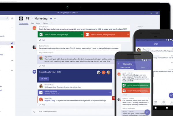 Microsoft Teams deployment on devices shown as example of intelligent communications