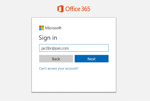 Office 365 New Sign In Experience screenshot