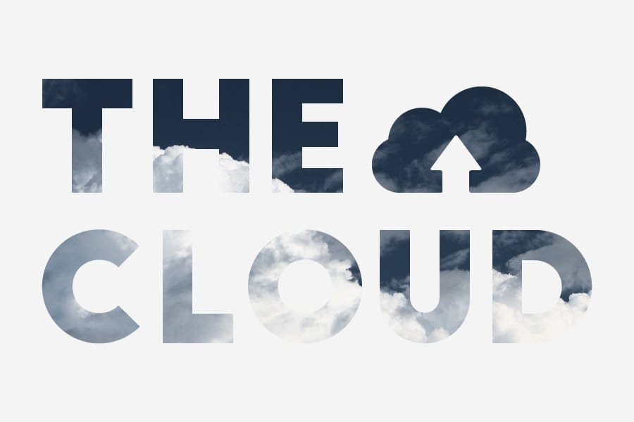 the cloud words with cloud background Azure