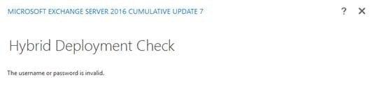 Exchange Hybrid Deployment Check invalid screenshot
