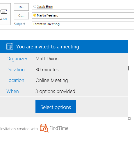 Outlook new meeting poll invite screenshot
