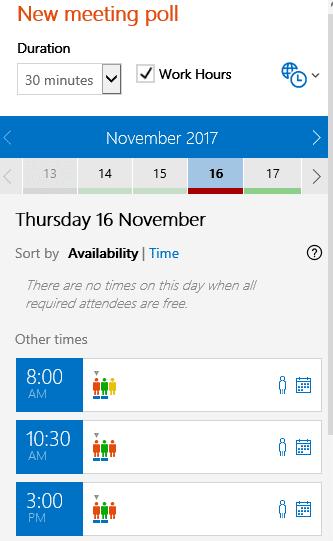 Outlook new meeting poll screenshot