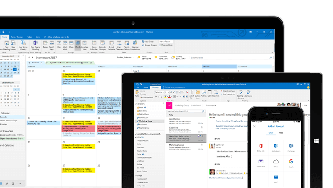 Microsoft Exchange business email on any device