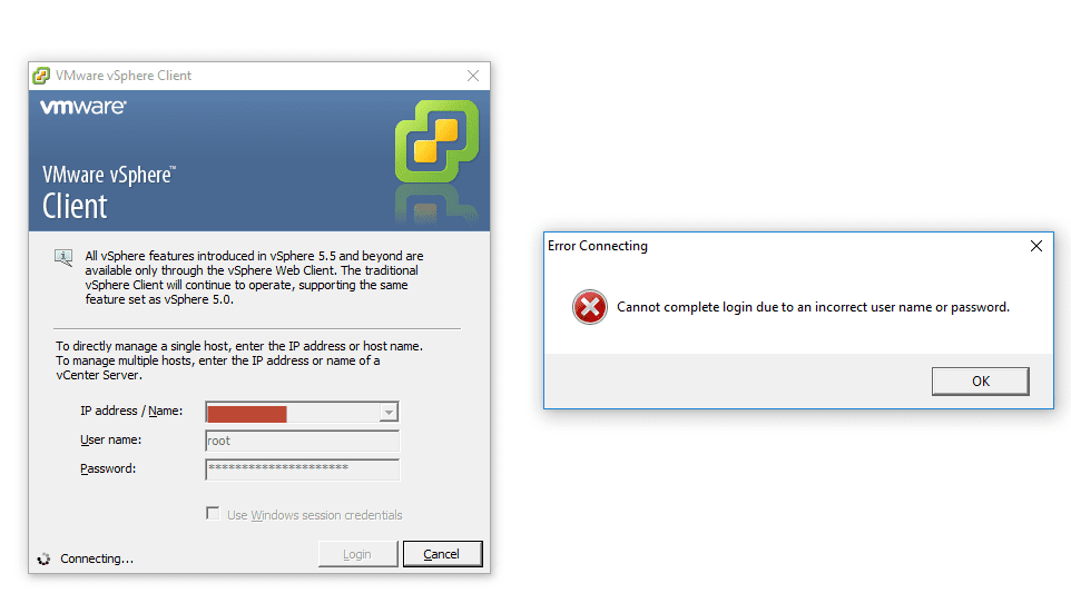 VMware ESXi error message