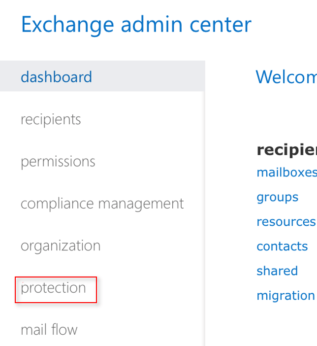 Exchange Admin Center Protection