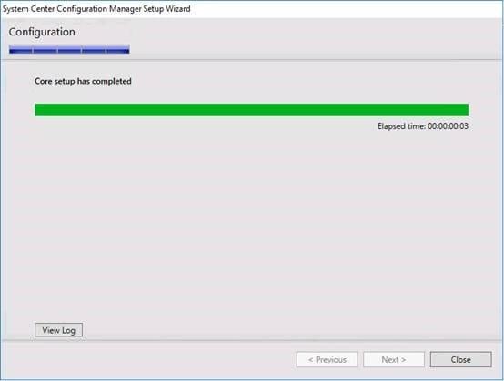 ConfigMgrSetup Complete Message Screenshot