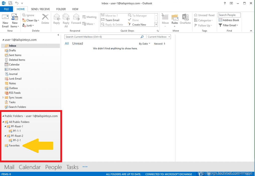 Exchange modern public folders screenshot