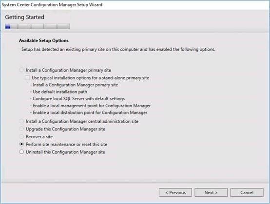 SCCM perform site maintenence or reset site setup option