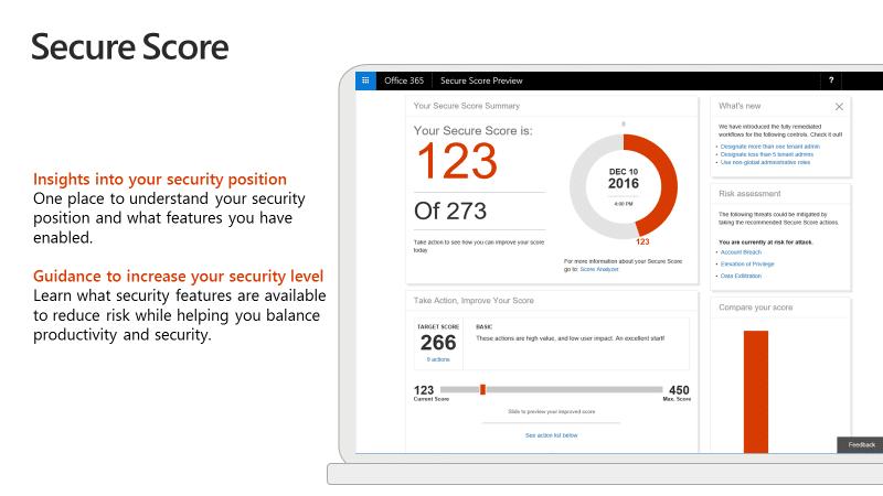 Microsoft Secure Score Screenshot