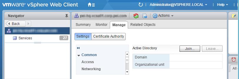 Join VCSA to Domain screenshot