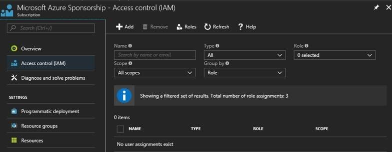 Azure Access Control blade (IAM) screenshot