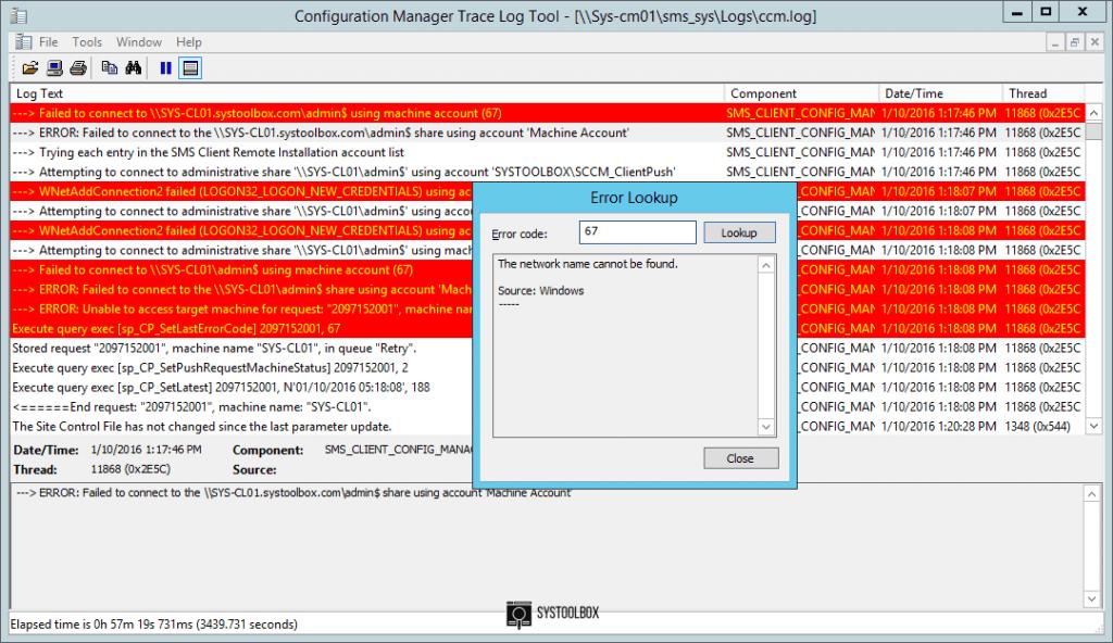 CMTrace Error Lookup screenshot