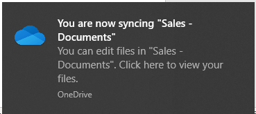 SharePoint Sync with Local Drive Successful Notification