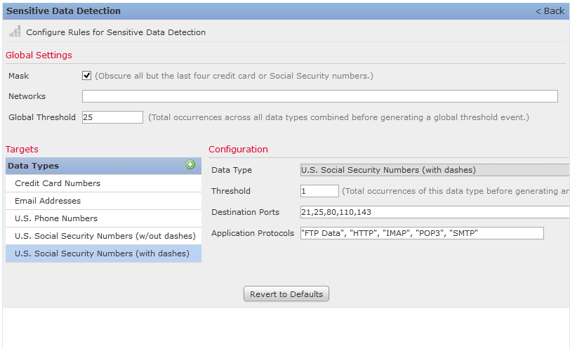 senitive data protection screenshot