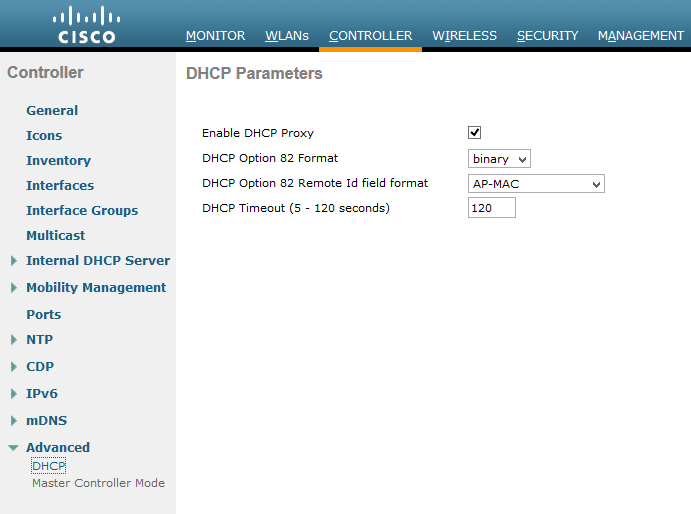 Cisco WLC Web Conole Enable DHCP Proxy Check