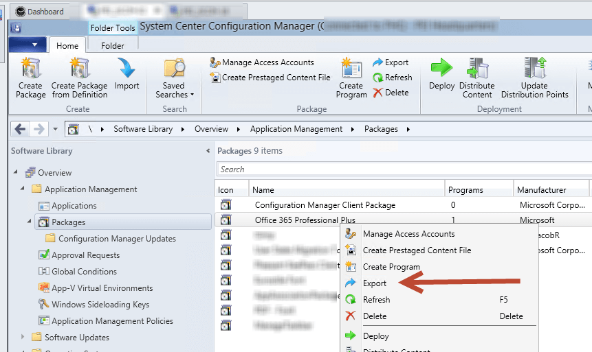 export SCCM Package to new server screenshot