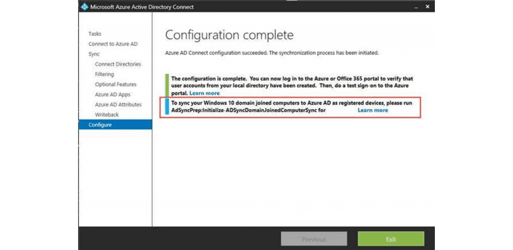 Azure Active Directory Connect Configuration Complete