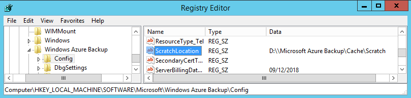 Azure Backup Scratch Location 1