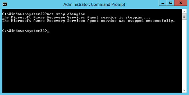 Elevated Comand Prompt for Azure Backup Scratch