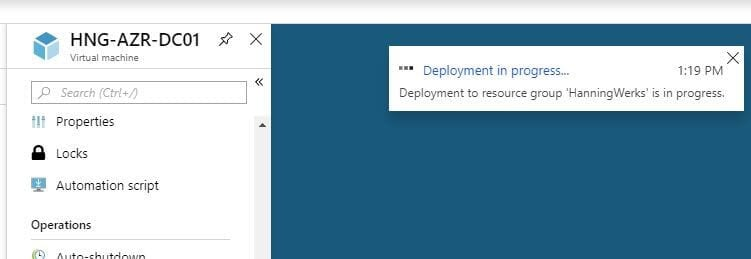 deployment status for Azure Recovery Services Vault