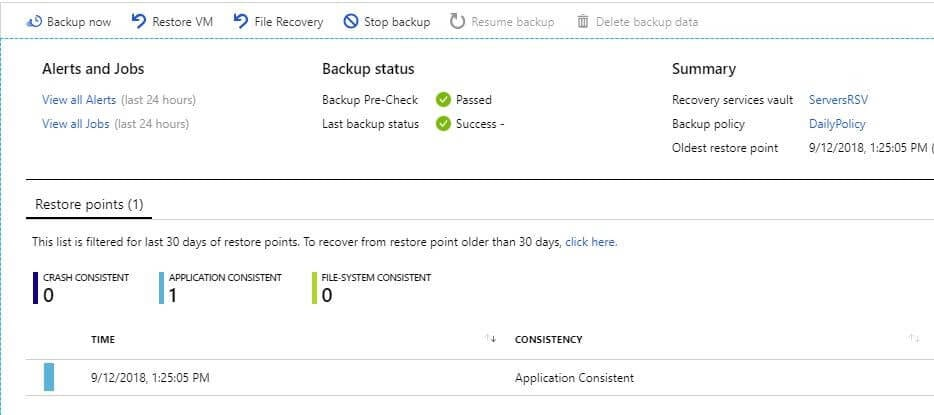 list of stored jobs azure recovery