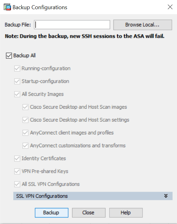 ASDM Backup Configuration screenshots