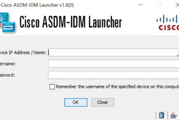 Cisco ASDM-IDM Launcher Screenshot