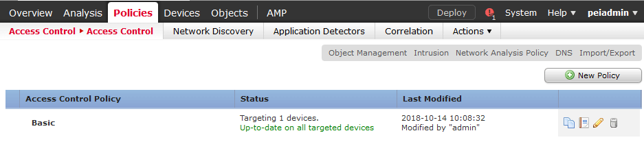 Cisco Security Manager Add Access control Policy