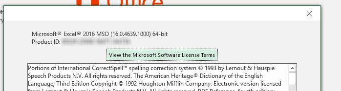 Excel Version screenshot