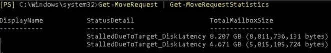 StalledDueToTarget_DiskLatency exchange migration status