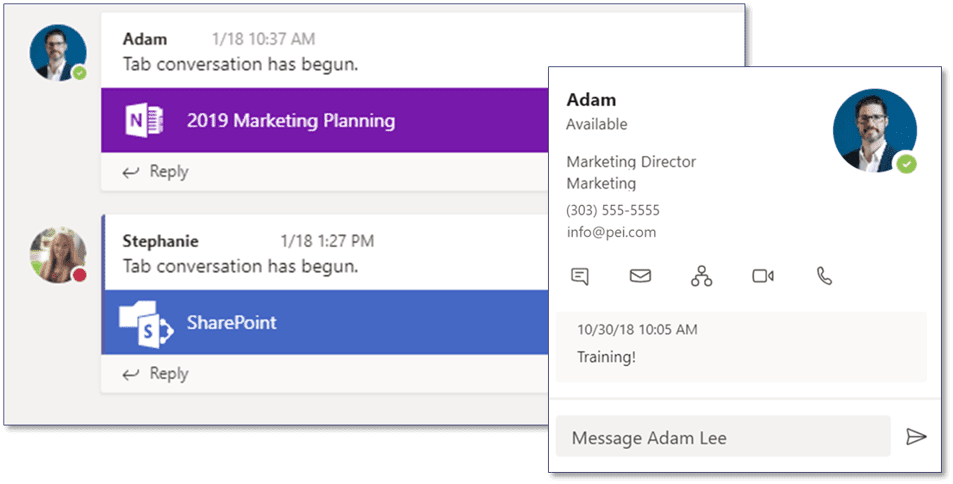 Start Conversation in Microsoft Teams