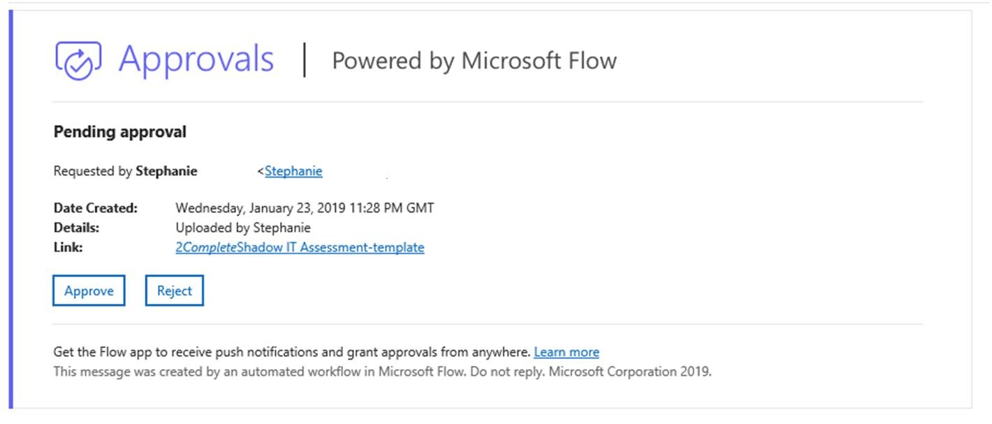 Office 365 Approval Email through Flow