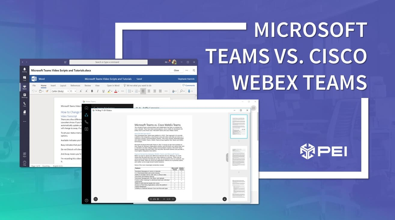 Comparing Microsoft Teams vs. Cisco WebEx Teams