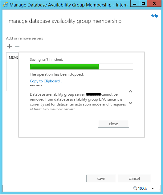 database availability group decommission error