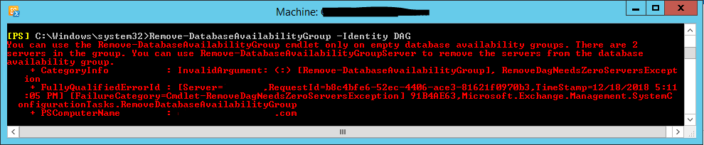 database availability group decommission powershell error