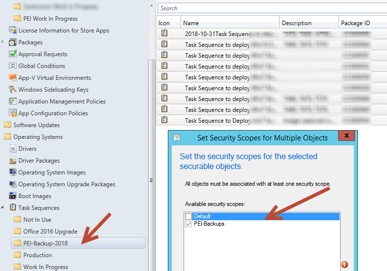 apply security scopes to task sequences