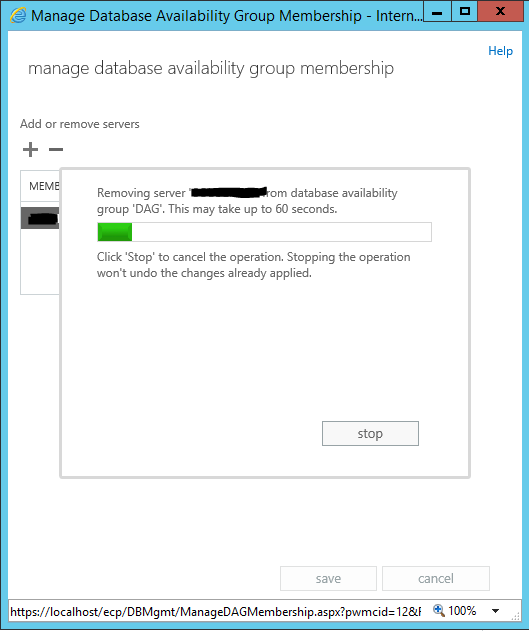 remove server from database availability group loading